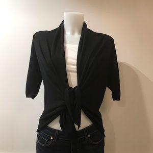 Zara black 1/2 sleeve tie in front sweater